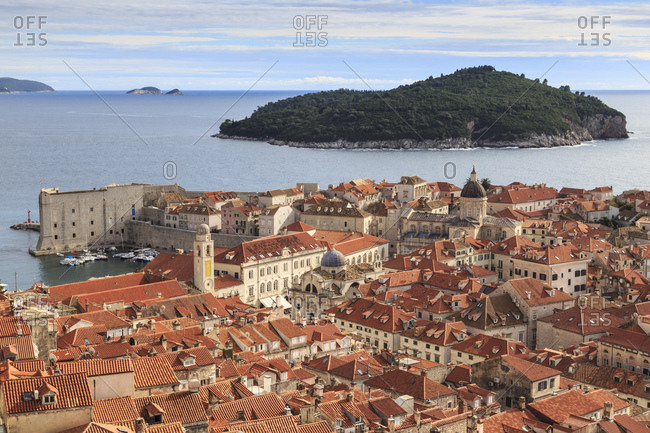 Elevated view, Old Town and Lokrum Island from Minceta Tower, Fort on City Walls, Dubrovnik, UNESCO World Heritage Site, Croatia, Europe