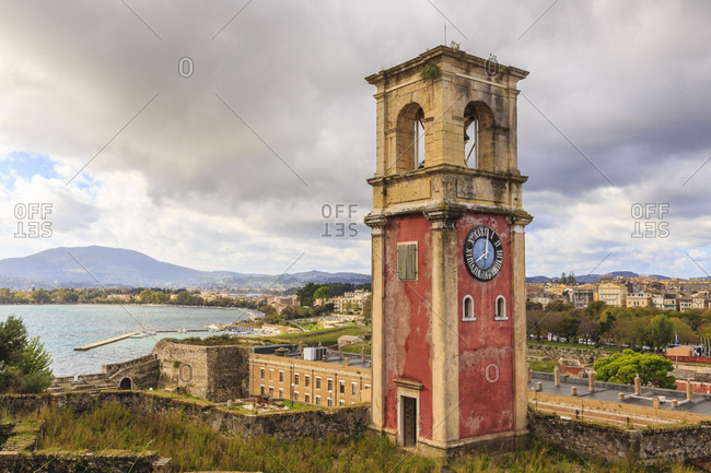 Clock Tower, Old Fortress and Old Town, Corfu Town, UNESCO World Heritage Site, Corfu, Ionian Islands, Greek Islands, Greece, Europe