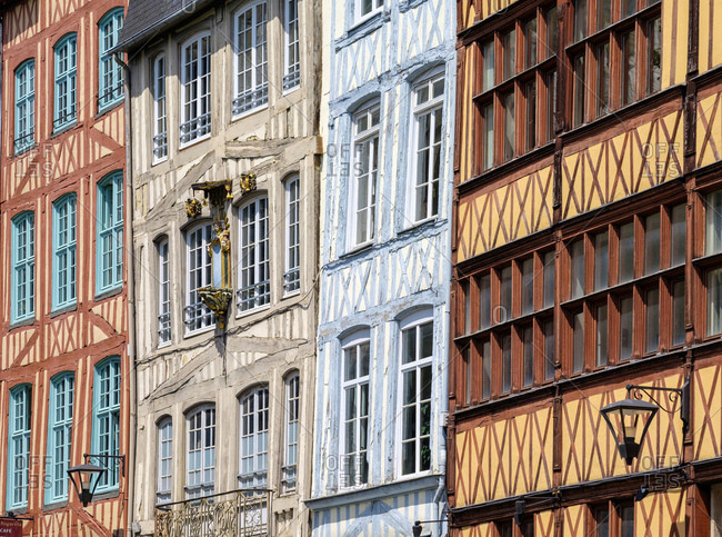 Half-timbered buildings in the old quarter, Rouen, Seine-Maritime Department, Normandy, France, Europe
