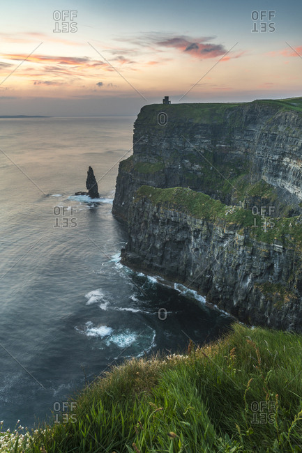 Cliffs of Moher at sunset, Liscannor, County Clare, Munster province, Republic of Ireland, Europe