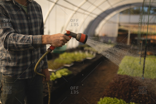 Mid-section of farmer watering plants in greenhouse