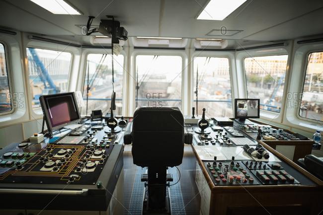 View of ship control bridge