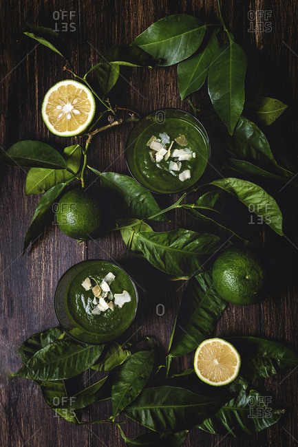 Detox healthy green smoothie From above