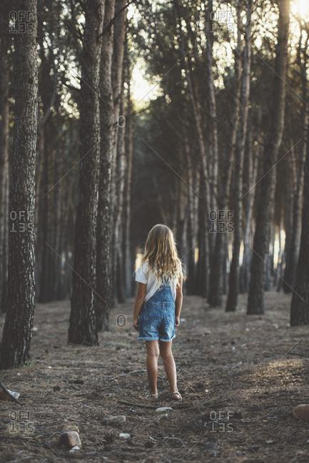 Happy child running in forest