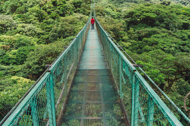 View of incognito person in red standing far away on bridge in jungle Copy space