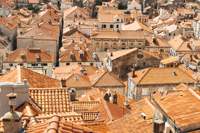 Bright rooftops of city
