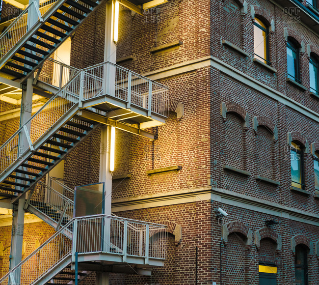 Fire stairs of building exterior