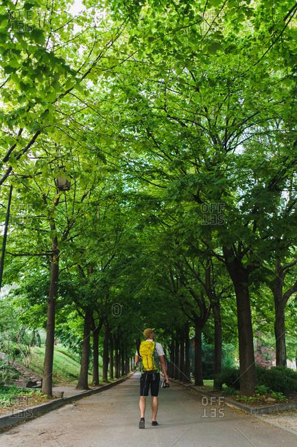 Backpacker walking on nature