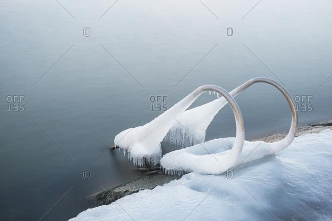 Ice on swim ladder