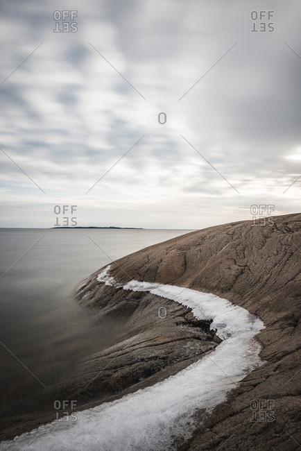 Rocky coast at winter