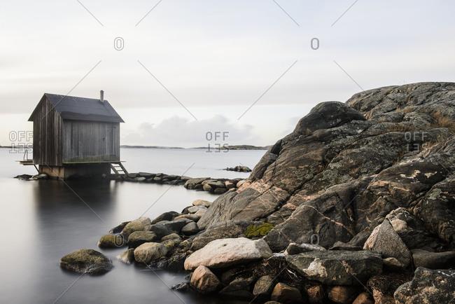 Wooden hut at coast