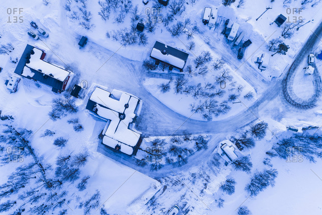 Aerial view of village in winter
