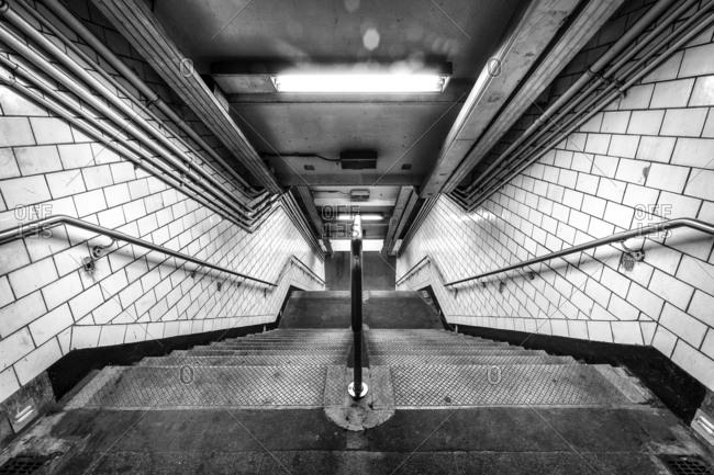 New York, NY, USA - December 28, 2015: York Street, a New York City Subway station located in DUMBO