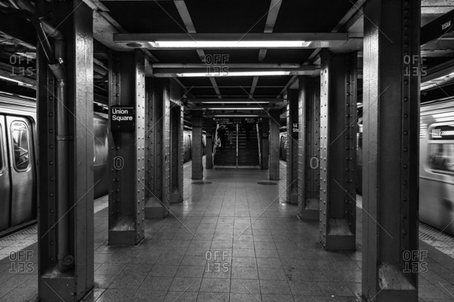New York, NY, USA - December 28, 2015: 14th Street-Union Square, a New York City Subway station in Manhattan
