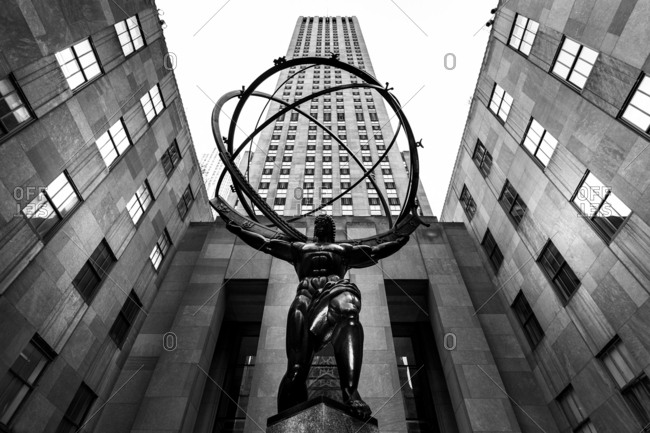 New York, NY, USA - December 28, 2015: Rockefeller Center between 48th and 51st Streets