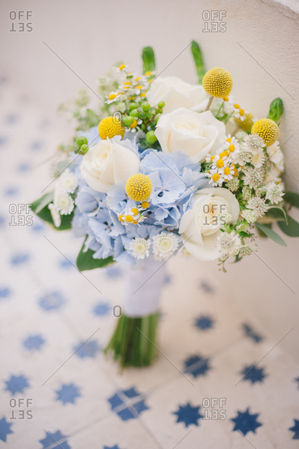 Flowers on a tile background