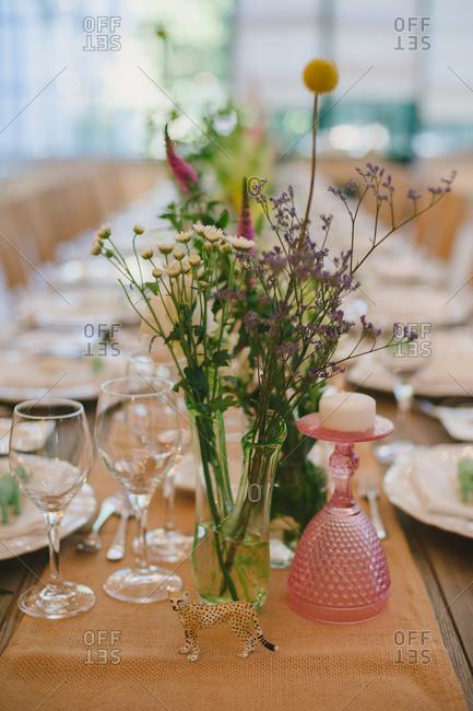 Simple flowers on wedding reception table