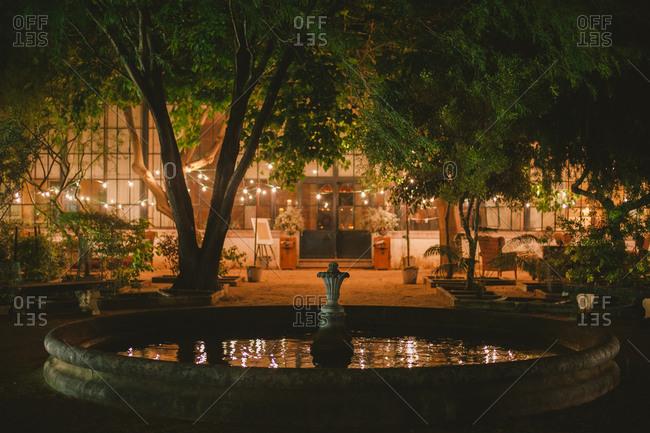 Fountain by wedding reception building