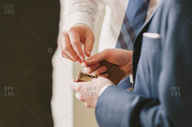 Wedding couple exchanging ring