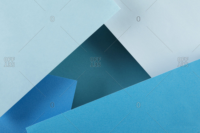 Blue material making geometric shapes