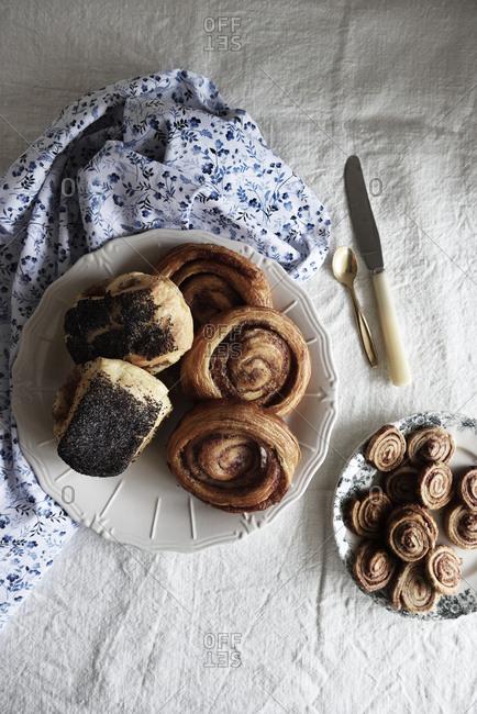 Breakfast served on vintage plate