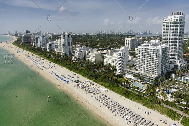 USA, Florida, Miami, Aerial view of coastal city