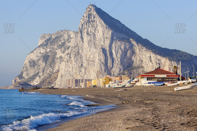 UK, Rock of Gibraltar with sandy beach in foreground