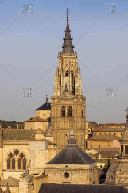 Spain, Castile-La Mancha, Toledo, Illuminated tower of Toledo Cathedral