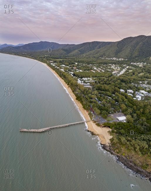 Australia, Queensland, Moody sky over coastline