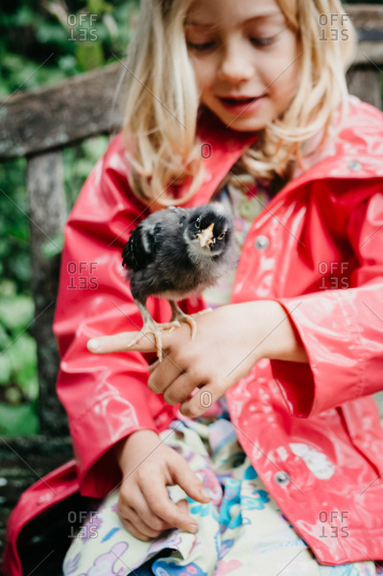 Girl with a baby chick on her finger