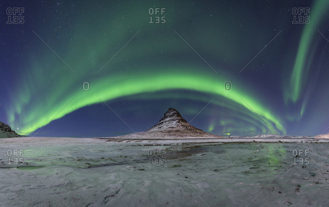 Iceland- Kirkjufell mountain with northern lights