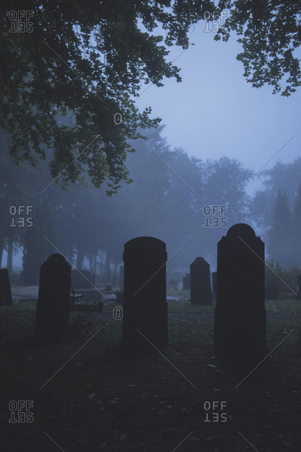Silhouettes of tombstones in cemetery in mist