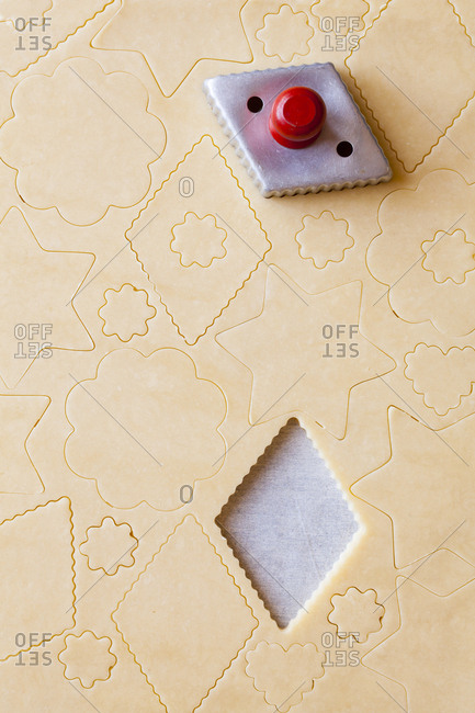 Shapes being cut out of pastry