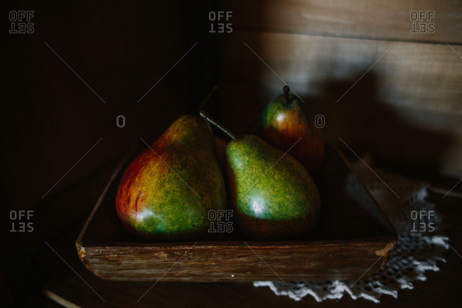 Still life of artificial pears
