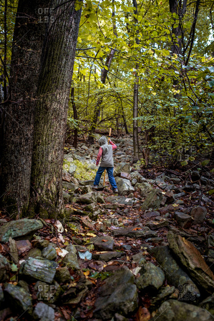 Boy hiking on a rocky trail in the forest