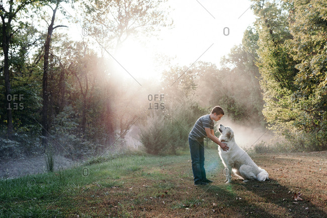 Boy petting Great Pyrenees in a clearing in the woods