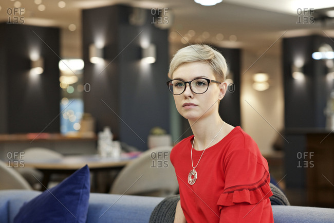 Woman in office in portrait