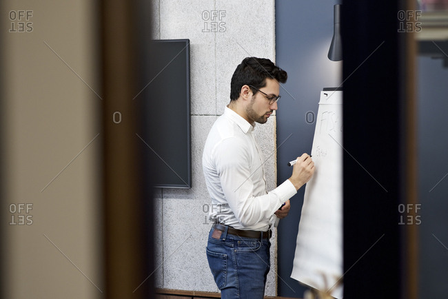 Man using whiteboard at meeting