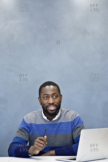 A man during a business meeting