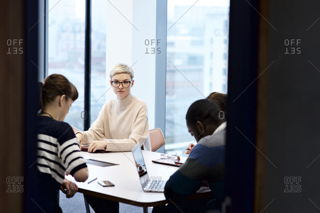 Woman staring during a meeting