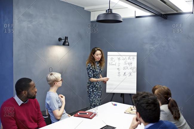 Woman teaching Asian characters