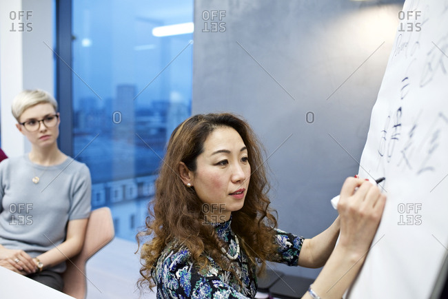 Woman writing Asian characters at work