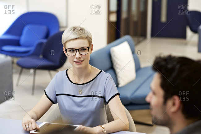 Woman listening while in meeting