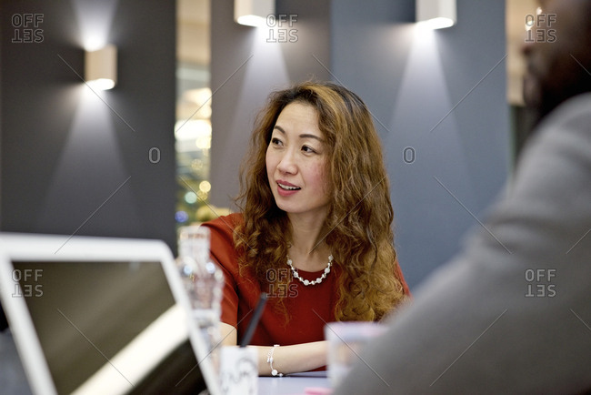 Woman looking while in meeting