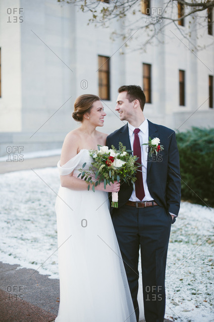 Bridal couple outside in winter