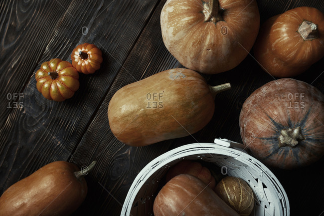Different types of pumpkin on a wooden table