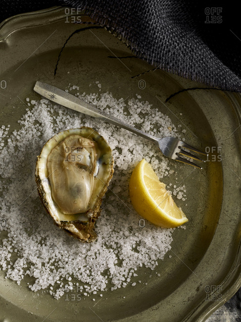 Oyster on half shell served with coarsely ground salt and lemon wedge