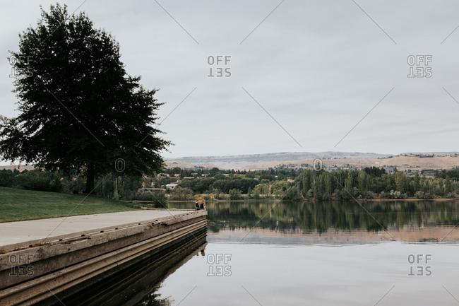 Children sit on a dock