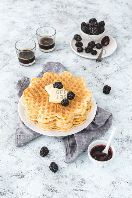 Waffle stack on a plate