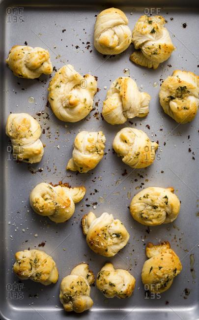 Garlic knots macro shot